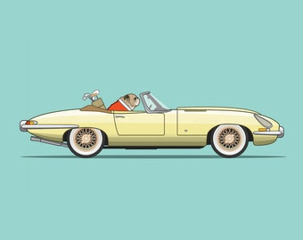 British Bulldog driving his E-Type Jaguar - Dogs Driving Things Collection - Cute and Fun, perfect illustration for Nursery.