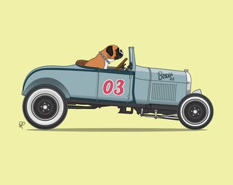 Boxer the Boxer driving his hot rod is the perfect art print for nursery or children's room or as a special gift