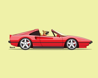 Magnum the German Shepherd driving his red Ferrari! Dogs Driving Things print series