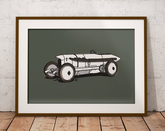 Land Speed Record Art Print - Blitzen Benz  - Car Automotive print perfect the auto enthusiast!