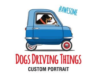 Custom Dogs Driving Things Illustration