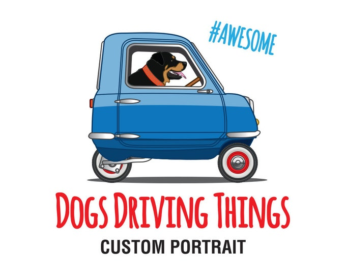 Featured listing image: Custom Dogs Driving Things Illustration
