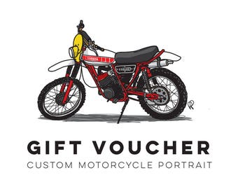 Gift Voucher for Custom Illustration and A3 Print of you Motorcycle! - Perfect Christmas gift for for anyone who loves their moto!