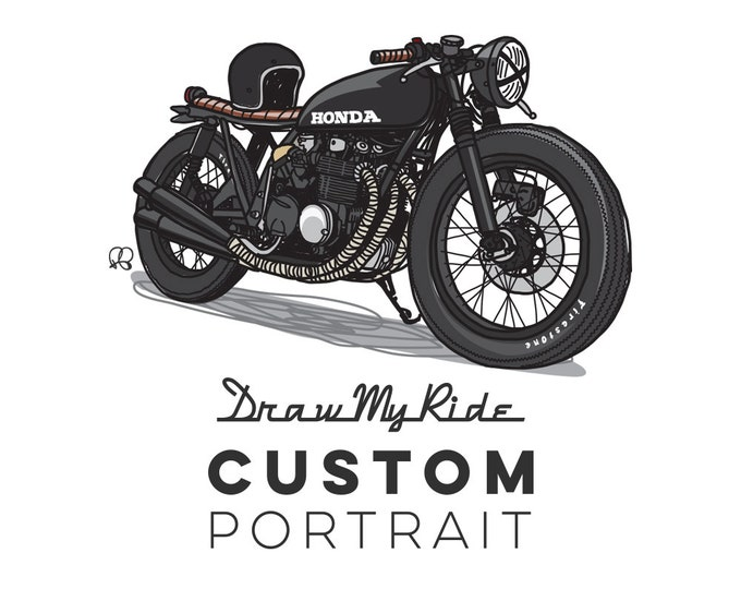 Featured listing image: Custom Illustration and A3 Print of you Motorcycle! - Perfect Christmas gift for for anyone who loves their moto!