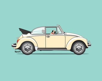 Otis the Pug driving his bug! Dogs Driving Things print series