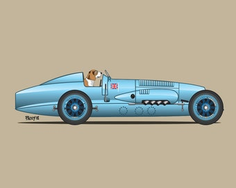Biggles the Beagle driving his Napier-Campbell Blue Bird! Dogs Driving Things print series