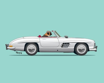 Bruce the boxer dog driving Mercedes-Benz 190SL Convertible - Dogs Driving Things Collection