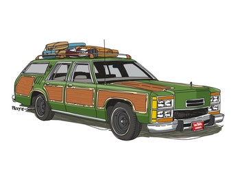 Wagon Queen Family Truckster Art Print - Iconic move cars collection