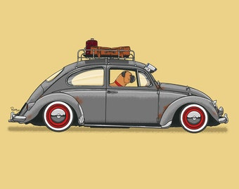 Rusty the Boxer dog driving his VW Beetle art print! Dogs Driving Things Series 5