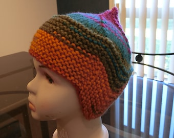 Child pixie earflap hat in rainbow colors 866a8b65ba80