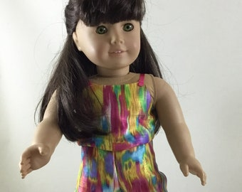 Bright Multi-colored Jumpsuit made to fit 18 inch dolls