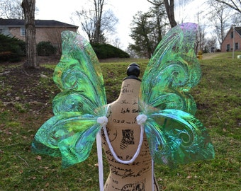 Wearable Iridescent Fairy Wings Costume for Adult in Aqua