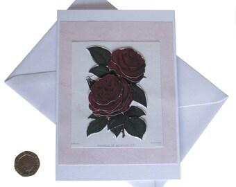 Red Roses Card, Flower Card, Birthday Card, Card for female, Handmade Card, Decoupage Card