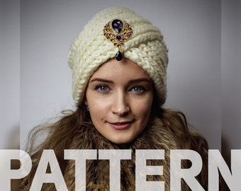 63e448d8382 KNITTING PATTERN - How To Knit Women s Chunky Turban Hat for Intermediate  Skills Level