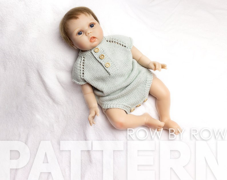 Baby Romper Knitting Pattern for 1-3 Mth Old Baby 20-22 Top-Down Easy Knitted romper 50-55 cm Newborn Romper