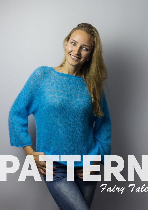 9a43d3df8 KNITTING PATTERN How to Knit Blue Sweater Intermediate