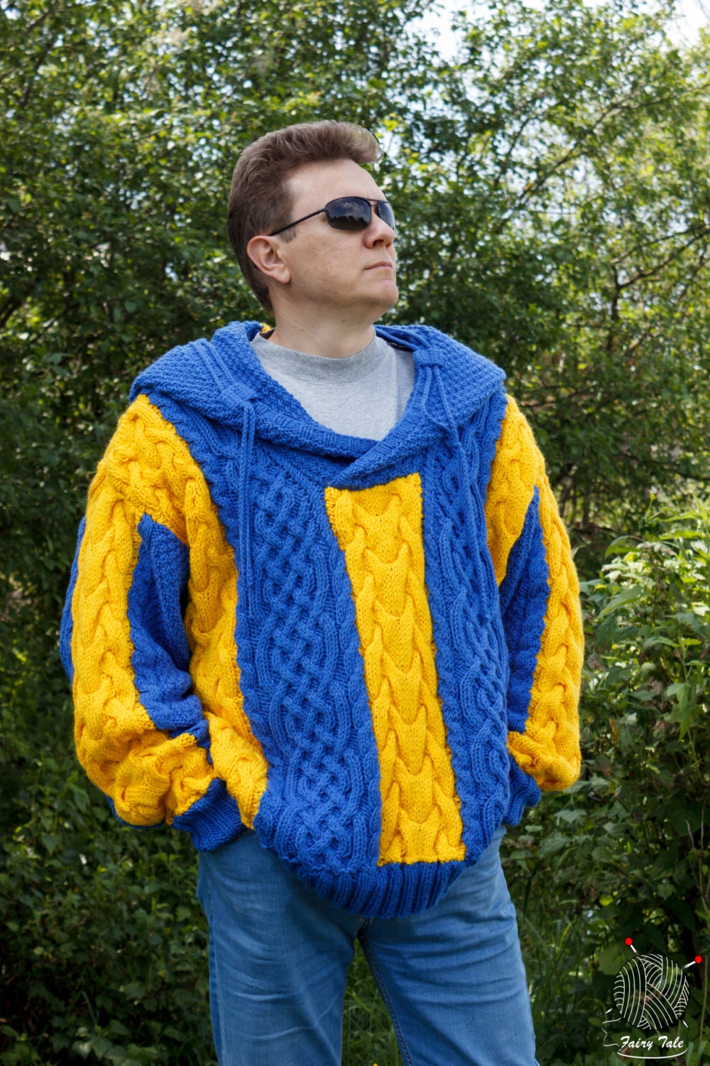 Men's Blue Yellow Knitted Exclusive Hand Hooded 4qwAcRE