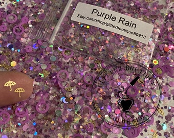 Purple Rain Resin Letter Keychain