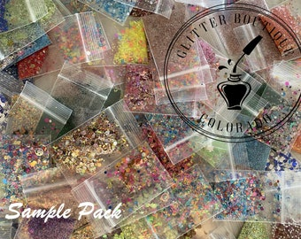 Sample Pack 20 Glitter, chunky glitter, chunky mix, gel nail glitter, nail art, resin molds, keychains, Solvent Resistant,