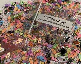 Coffee Lover Glitter, chunky glitter, chunky mix, gel nail glitter, nail art, resin molds, keychains, Solvent Resistant, craft glitter