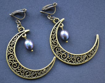 Crescent moon earrings, pearl earrings, gothic earrings, filigree pendant earrings, clip on earrings, not pierced earrings