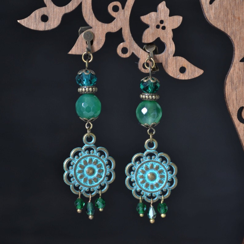 Patina flower clip on dangle earrings long clip on earrings image 0