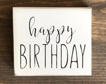 Happy Birthday Mini Rae Dunn Inspired Wood Sign Tiered Tray Decor Rustic Farmhouse Decoration