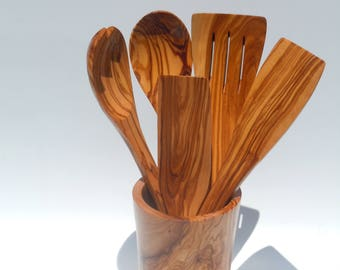 Olive wood ultimate utensils set ,spoon,spatula,spork, slotted spatula,ladle,utensils holder,free shipping,US seller