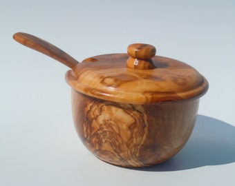 Olive wood Sugar Bowl with Lid and Spoon ,amazing finish,free shipping,original design,US Seller