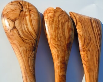 Olive wood utensils set,spoon,spatula,spork,free shipping,amazing value and finish,US seller