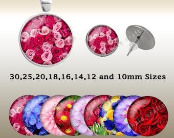 Digital Collage Sheet , Floral Images , Cabochon , Printing Design , Printable Downloads , digital download , prints