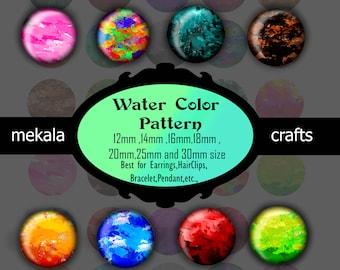 Digital Collage Sheet , Water color Images ,Color splash images, Cabochon , Printing Design , Printable Downloads , digital download ,prints