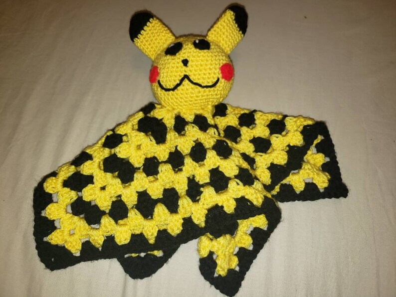 Crochet Pokemon Inspired Pikachu Baby Lovey Blanket by ... | 596x794