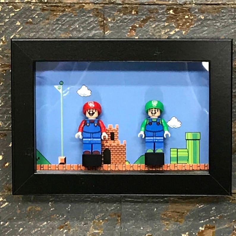 Super Mario Bros Mini Figures Frame Mario • Luigi • Lego