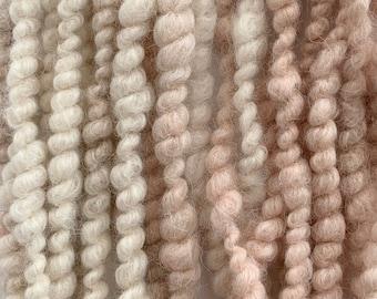 Hand spun art yarn; naturally dyed alpaca and flax; core spun and spiral plied; textured yarn; weaving yarn; bulky weight yarn