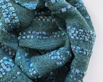 Handwoven scarf made with hand spun merino and alpaca yarn; Textured scarf; Winter scarf; gift for her; gift for mum; handmade gift