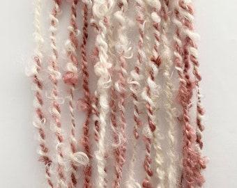 Hand spun art yarn; plant dyed mohair locks; textured yarn; weaving yarn; naturally dyed; two ply