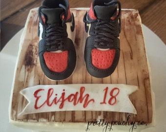 more photos fb851 2e9e2 Fondant basketball shoes Hand sculpted cake topper Basketball birthday  Jordan  1 Basketball cake Boys Birthday Retro Jordan s red   black