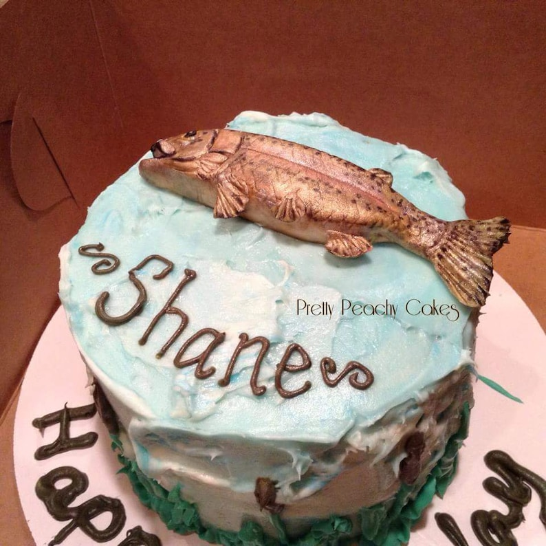 Fondant fish cake topperFathers day cake topperCake topper for dadFishing lovers cake Fishing Birthday Hand sculpted cake topperTrout