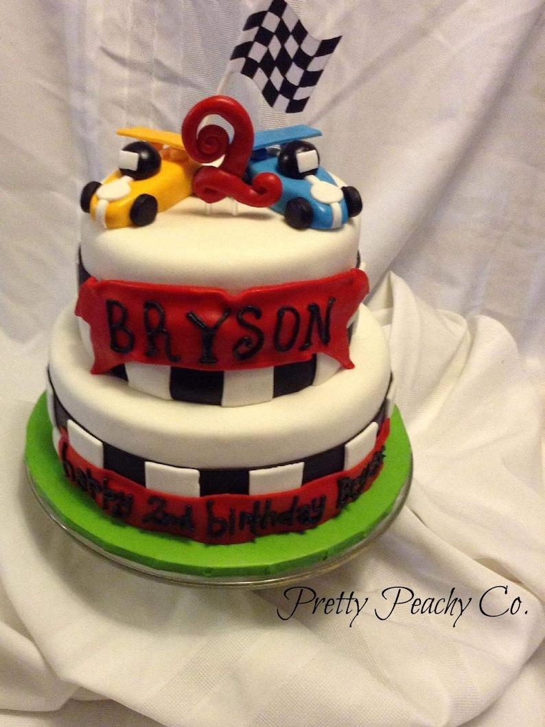 Pleasing Fondant Racecar Cake Topper Racecar Birthday Hand Etsy Funny Birthday Cards Online Alyptdamsfinfo