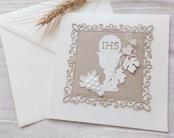Holy first communion invite/Girls and boys baptism invitation/Elegant doily baptism invite/Girls and boys First communion chalice invitation