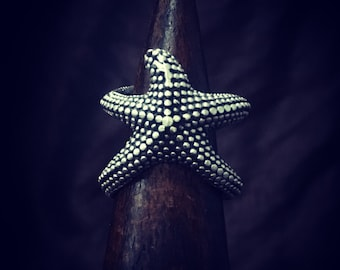 sea star ring, animal ring, natural jewelry, adjustable, wrap around ring, silver plated