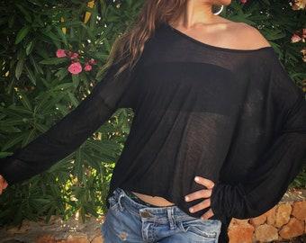 Bamboo long sleeve loose blouse