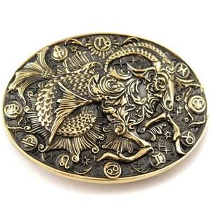 Vintage Men/'s Belt Buckle Zodiac Aquarius Solid Brass Chrome Plated