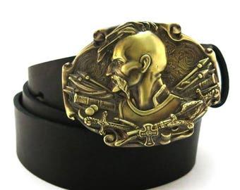 Author/'s  Leather Belt with HANDMADE  Buckle Brass *Werewolf*