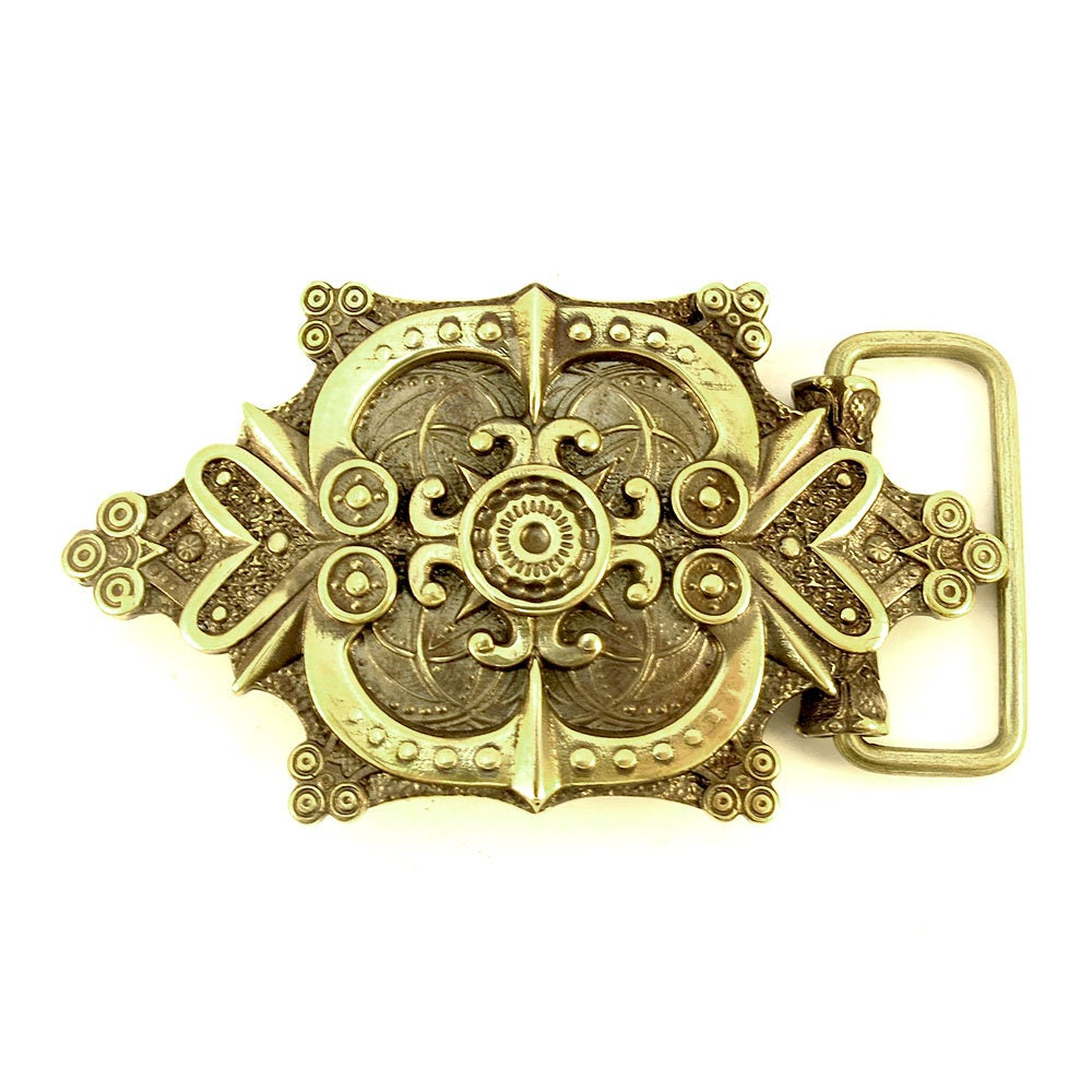 Leather Belt with Brass Ornamental Belt Buckle Anchor