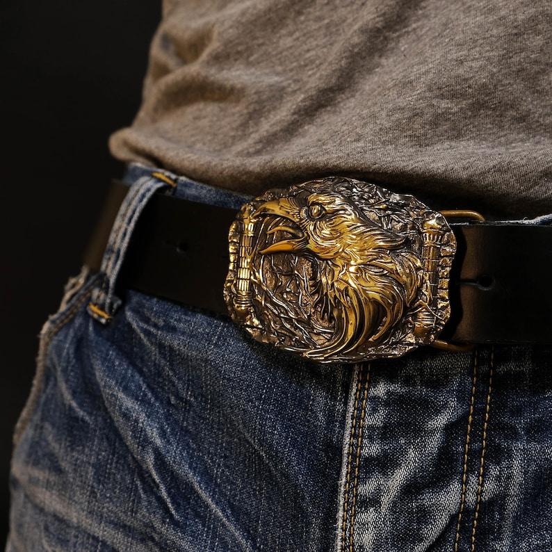 Old Norse scandinavian mythology black bird Huginn and Muninn Odin/'s ravens solid brass belt buckle Odins Raven belt buckle