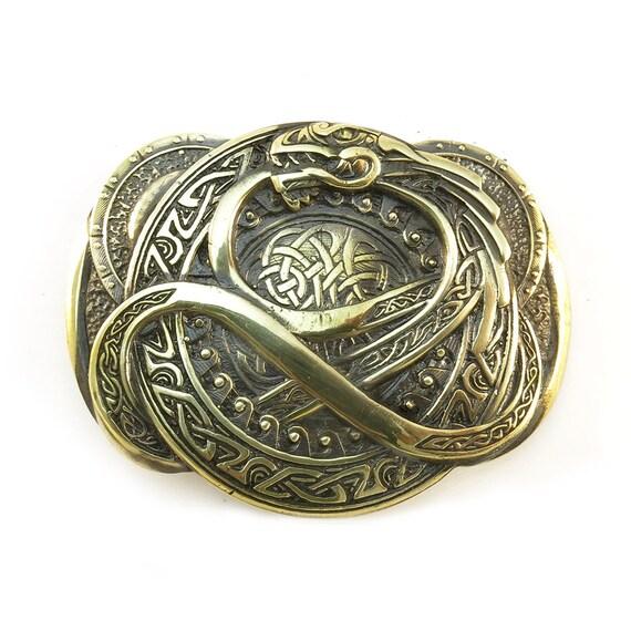 Belt buckle Jormungand, Old norse scandinavian world Midgard Serpent Ouroboros Jormungandr solid brass belt buckle