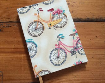 Small Notebook Covered in a Bicycle Fabric/pocket book/handmade notebook/bicycle book/handbound notebook