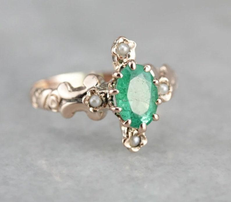 Natural Emerald Zambian Ring14k Solid Gold925 Sterling SilverHandcraftedPrecious Ringwedding RingEngagement RingAnniversary Ring